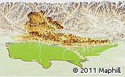 Physical 3D Map of Lumbini, lighten
