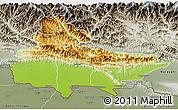 Physical 3D Map of Lumbini, semi-desaturated
