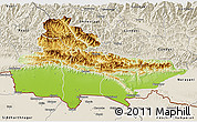 Physical 3D Map of Lumbini, shaded relief outside