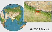 Satellite Location Map of Lumbini