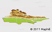 Physical Panoramic Map of Lumbini, cropped outside
