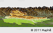 Physical Panoramic Map of Lumbini, darken