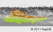 Physical Panoramic Map of Lumbini, desaturated