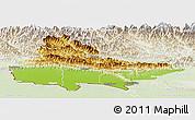 Physical Panoramic Map of Lumbini, lighten