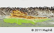 Physical Panoramic Map of Lumbini, semi-desaturated