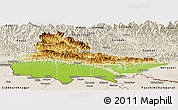 Physical Panoramic Map of Lumbini, shaded relief outside