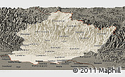 Shaded Relief Panoramic Map of West, darken