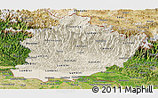 Shaded Relief Panoramic Map of West, satellite outside