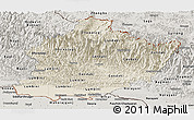 Shaded Relief Panoramic Map of West, semi-desaturated