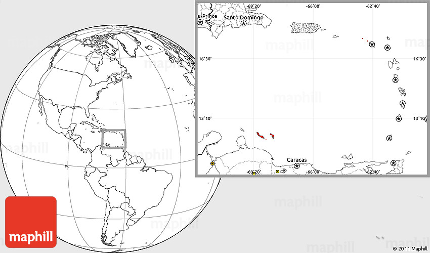Blank Location Map of Netherlands Antilles