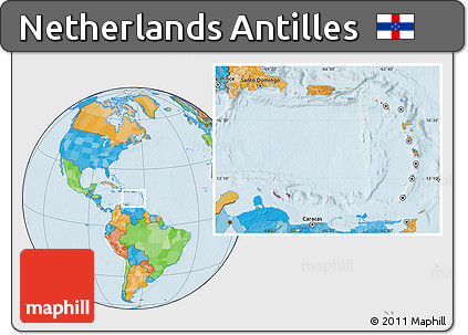 Free Political Location Map Of Netherlands Antilles - Netherlands antilles map