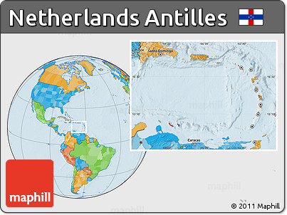 Free Political Location Map of Netherlands Antilles