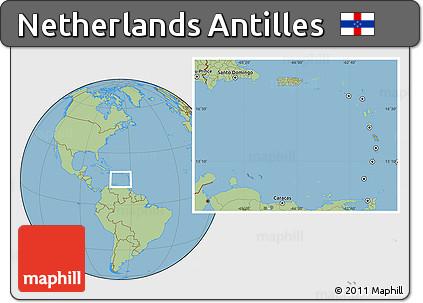 Free Satellite Location Map of Netherlands Antilles savanna style