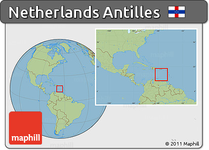 Free Savanna Style Location Map of Netherlands Antilles within