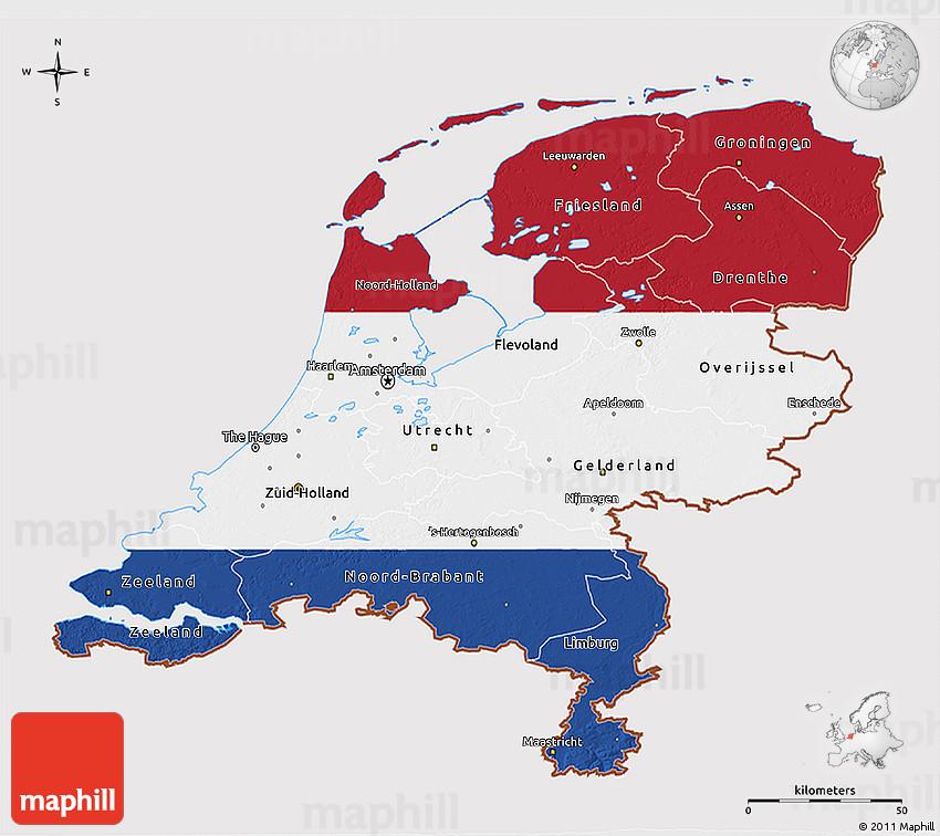 Flag 3D Map of Netherlands