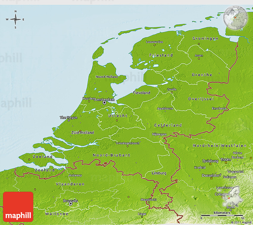 Physical 3D Map of Netherlands