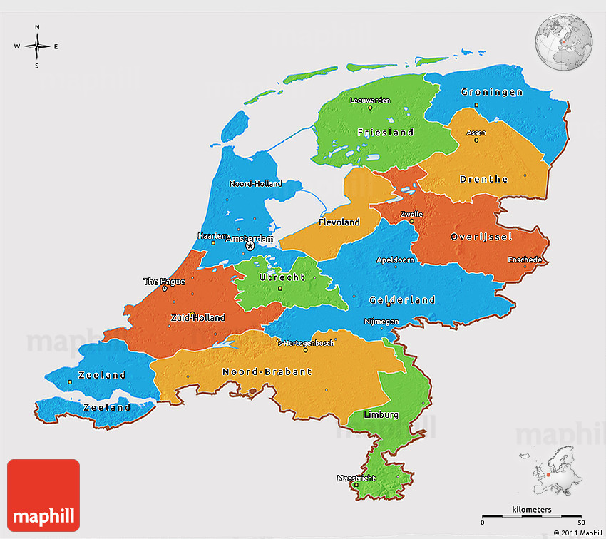 Political 3D Map of Netherlands cropped outside