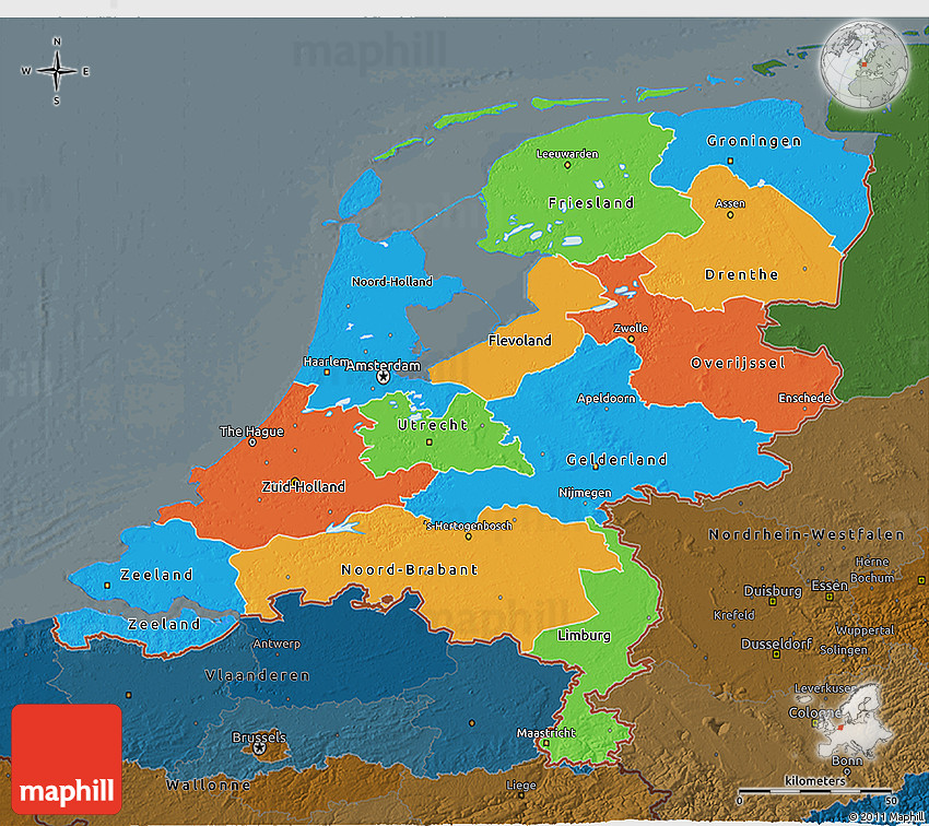 Political 3D Map of Netherlands darken