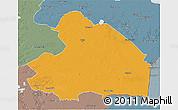 Political 3D Map of Drenthe, semi-desaturated