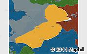Political 3D Map of Flevoland, darken