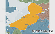 Political 3D Map of Flevoland, semi-desaturated