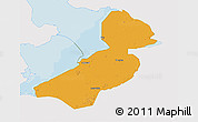 Political 3D Map of Flevoland, single color outside