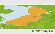 Political Panoramic Map of Flevoland, physical outside
