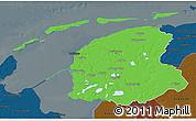 Political 3D Map of Friesland, darken