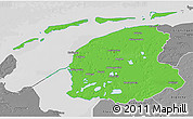Political 3D Map of Friesland, desaturated