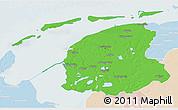 Political 3D Map of Friesland, lighten