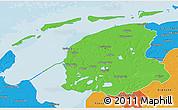 Political 3D Map of Friesland