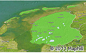 Political 3D Map of Friesland, satellite outside