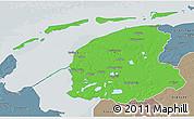 Political 3D Map of Friesland, semi-desaturated