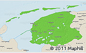 Political 3D Map of Friesland, shaded relief outside
