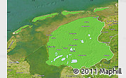 Political Map of Friesland, satellite outside