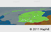Political Panoramic Map of Friesland, darken