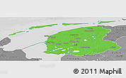 Political Panoramic Map of Friesland, desaturated