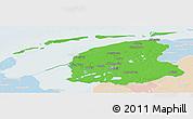 Political Panoramic Map of Friesland, lighten