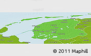 Political Panoramic Map of Friesland, physical outside