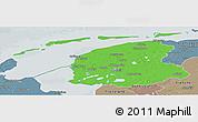 Political Panoramic Map of Friesland, semi-desaturated