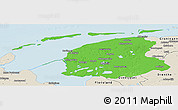 Political Panoramic Map of Friesland, shaded relief outside