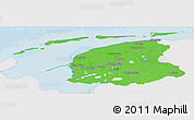 Political Panoramic Map of Friesland, single color outside