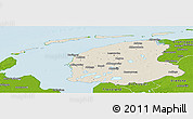 Shaded Relief Panoramic Map of Friesland, physical outside