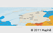 Shaded Relief Panoramic Map of Friesland, political outside