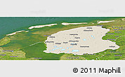 Shaded Relief Panoramic Map of Friesland, satellite outside