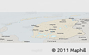 Shaded Relief Panoramic Map of Friesland, semi-desaturated