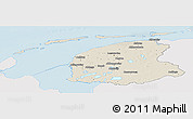 Shaded Relief Panoramic Map of Friesland, single color outside