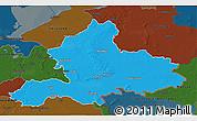 Political 3D Map of Gelderland, darken