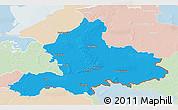 Political 3D Map of Gelderland, lighten