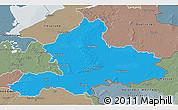 Political 3D Map of Gelderland, semi-desaturated
